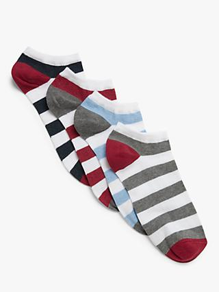 John Lewis & Partners Rugby Stripe Trainer Socks, Pack of 4, Black/Red/Blue/Grey