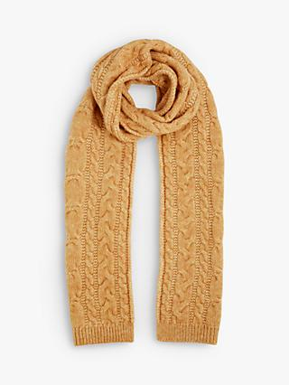 Jigsaw Cosy Cable Knit Scarf, Yellow