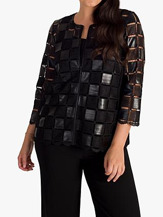 chesca Leatherette Check Jacket, Black