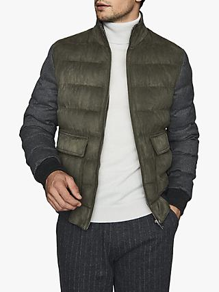 Reiss Pugba Quilted Jacket, Khaki