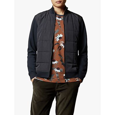 Ted Baker Pasport Funnel Zip Neck Quilted Jacket, Navy Blue