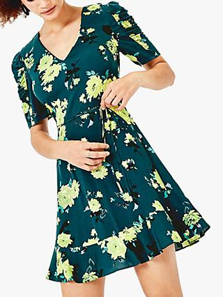 Oasis Floral V-Neck Dress, Green/Multi