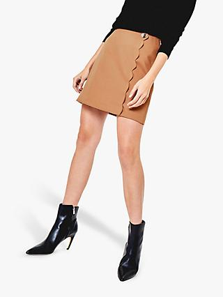 Oasis Scallop Mini Skirt, Mid Neutral