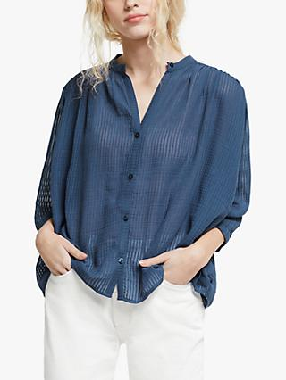 AND/OR Kate Textured Stripe Shirt, Ink Blue
