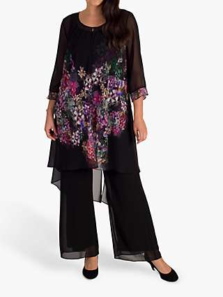 Chesca Floral Placement Chiffon Cape Coat, Black/Grape