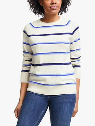 Collection WEEKEND by John Lewis Raglan Cashmere Stripe Crew Neck Jumper, Ivory/Blue