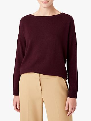 Hobbs Dawn Button Split Hem Detail Wool Blend Sweater, Aubergine