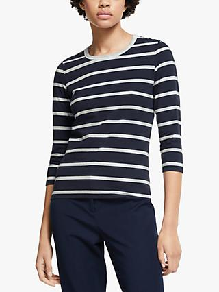 John Lewis & Partners Zip Back Stripe Top