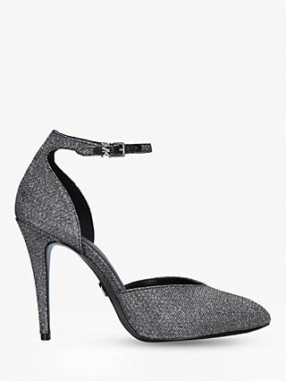 MICHAEL Michael Kors Elysia Ankle Strap Court Shoes, Black Glitter