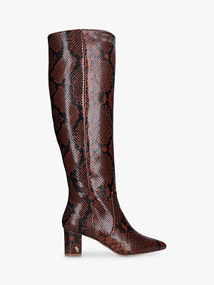 Buy Kurt Geiger London Briya Snake Print Block Heel Knee High Boots, Brown, 3 Online at johnlewis.com