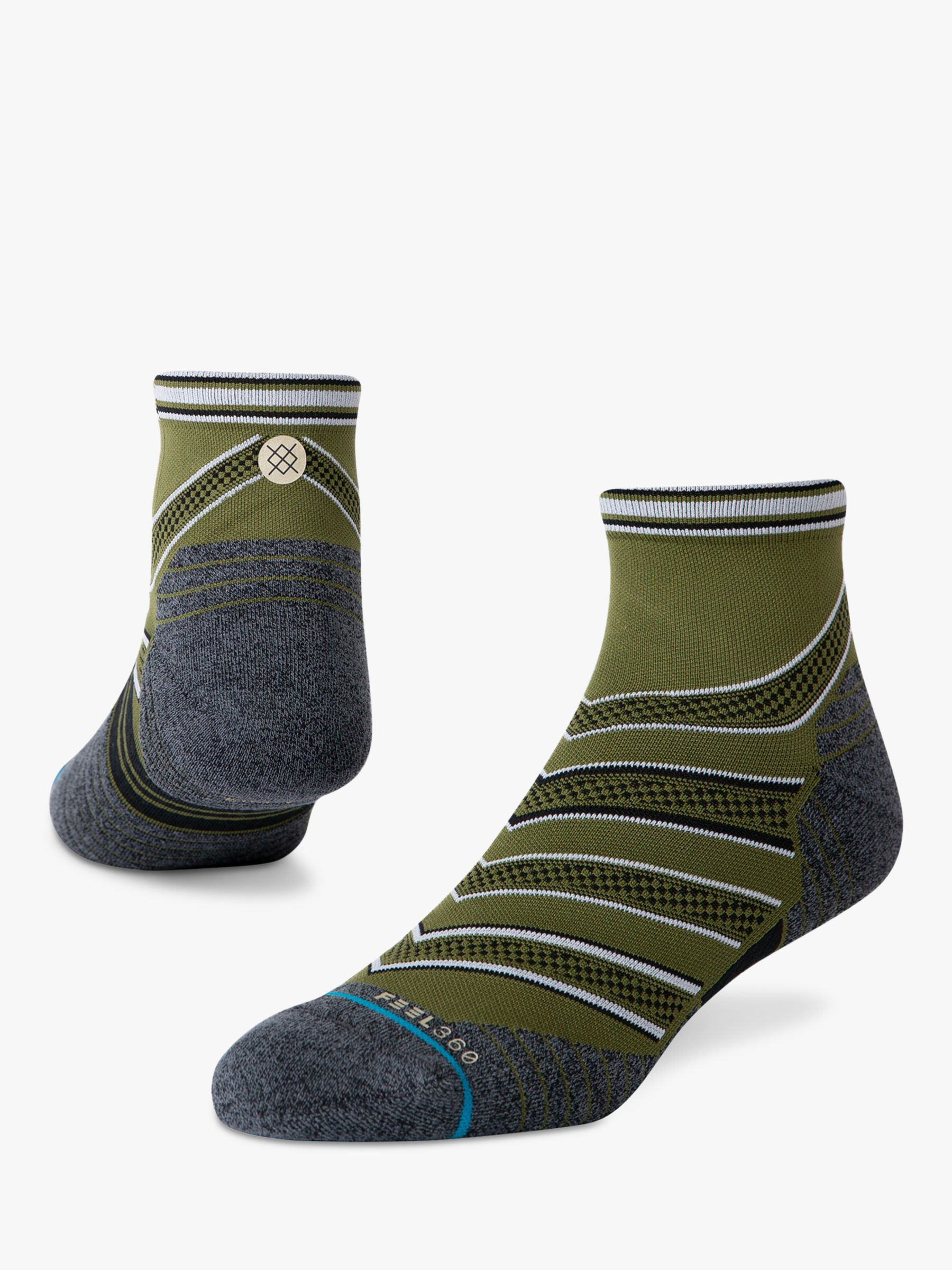 Stance Stance Conflicted Quarter Running Socks, Green