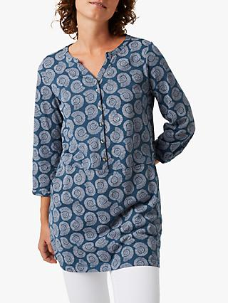 White Stuff Fossil Print Tunic Top, Blue