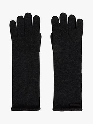 AllSaints Wool & Cashmere Self Rolled Edge Gloves, Charcoal