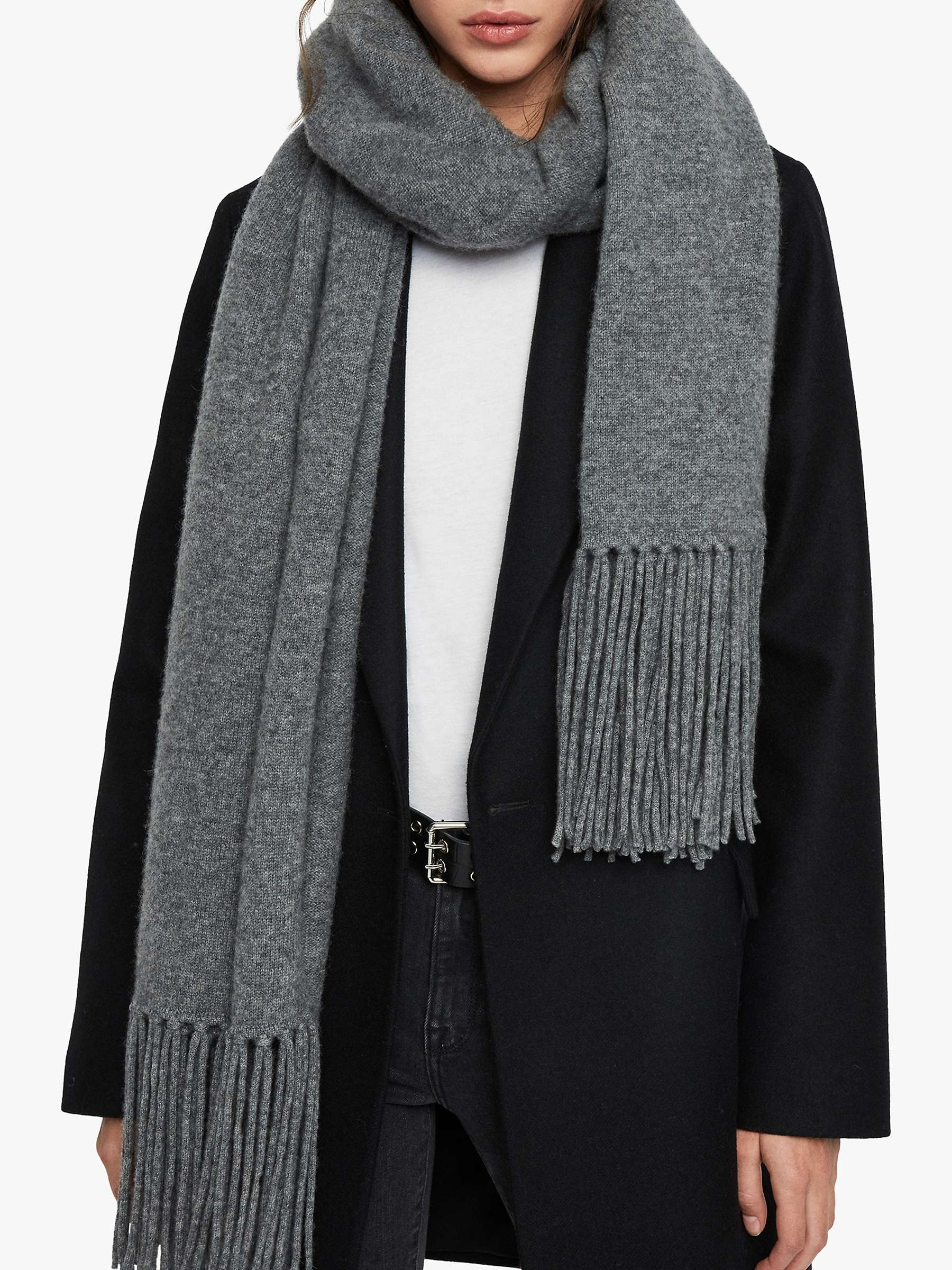 All Saints Boiled Wool Scarf, Grey Marl by Allsaints