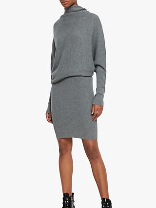AllSaints Ridley Wool High Neck Dress, Mid Grey Marl