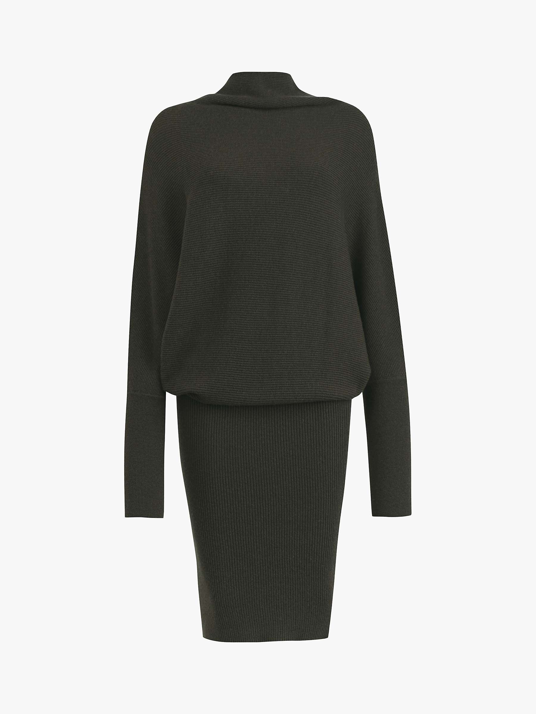 Ribbed Funnel Neck Dress