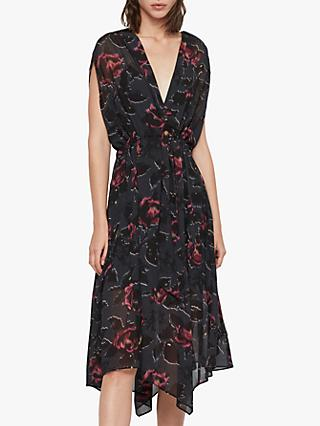 AllSaints Romina Rosalyn Scarf Dress, Washed Black