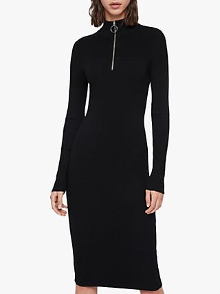 AllSaints Lacey Rib Zip Midi Dress, Black