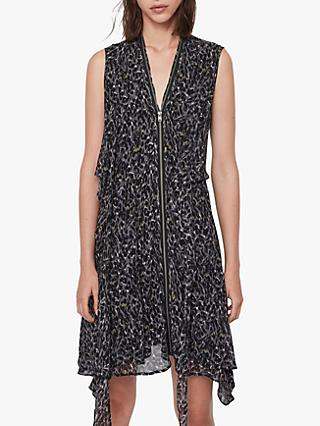 AllSaints Jayda Waterleo Dress, Khaki Green