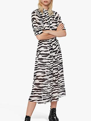 AllSaints Xena Long Zephyr Zebra Print Dress, Ecru White/Black