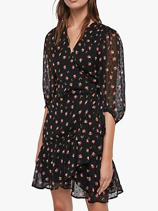 AllSaints Jade Bounce Floral Dress, Black