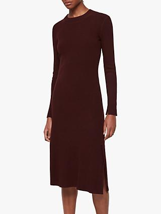 AllSaints Nala Ribbed Midi Dress, Bordeaux Red