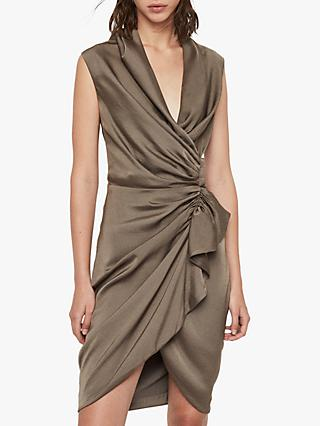 AllSaints Cancity Gathered Dress, Ash Grey