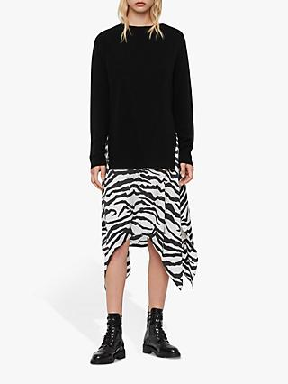 AllSaints Diza Zephyr Dress, Black/Ecru White