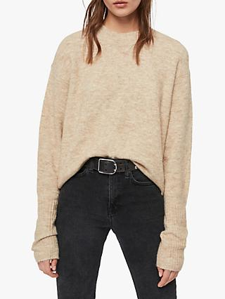 AllSaints Rue Alpaca Blend Jumper, Oat Brown Marl