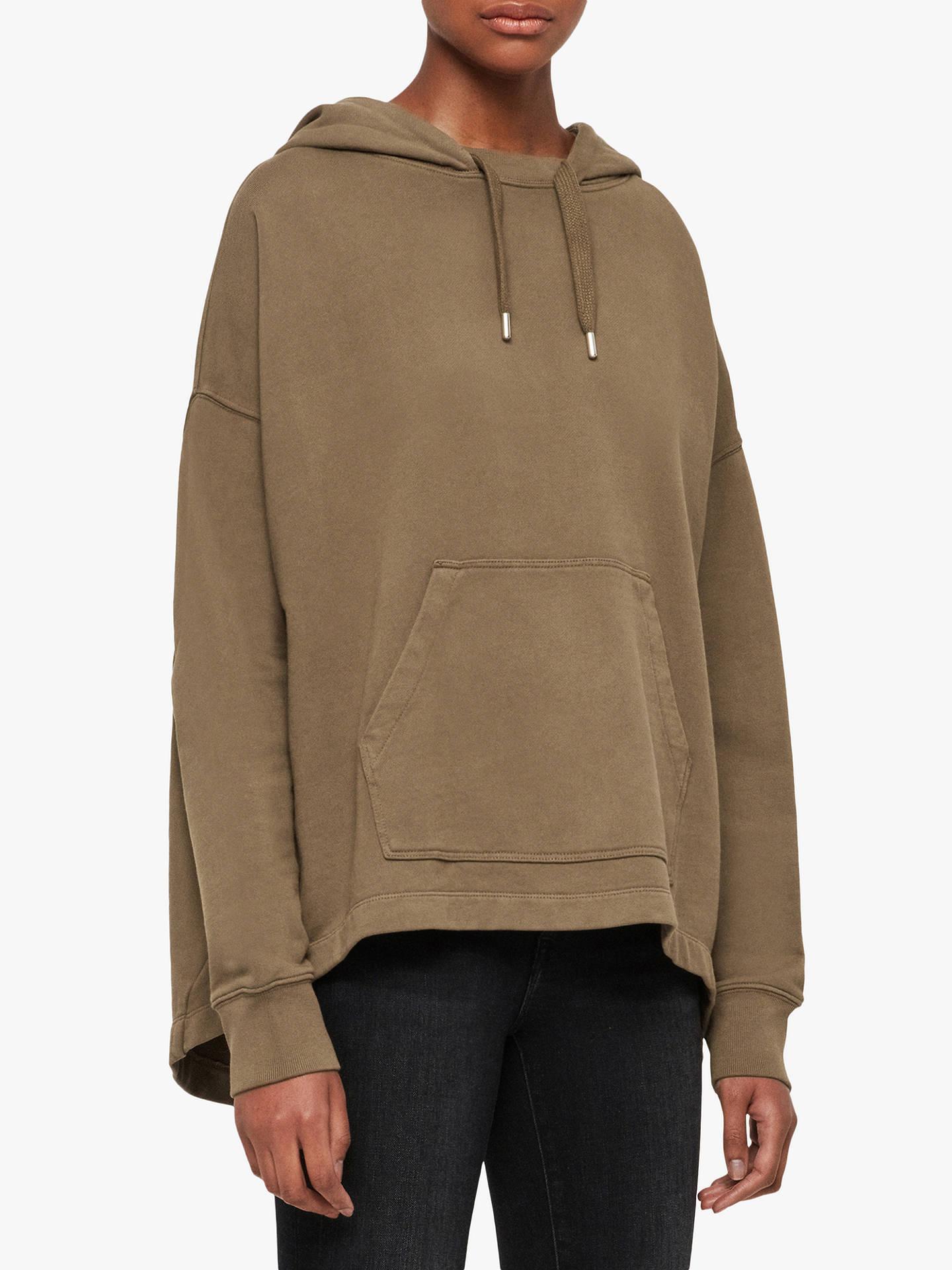 allsaints-etienne-cotton-oversized-hoodie,-khaki-green by allsaints