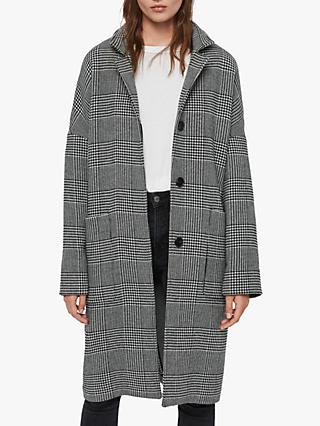 AllSaints Teya Check Coat, Black/White
