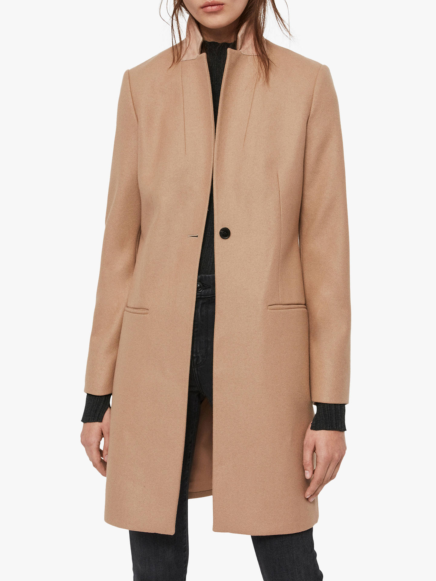 AllSaints Leni Coat, Camel Brown at John Lewis & Partners