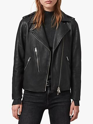 AllSaints Elva Leather Biker Jacket, Black