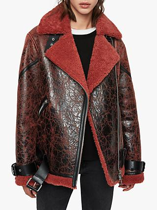 AllSaints Hawley Oversized Shearling Jacket, Raspberry Pink