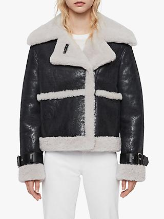 AllSaints Farley Shearling Coat, Black/Ecru White