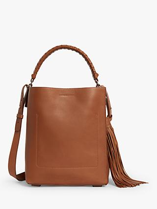 AllSaints Shirley North South Small Leather Tote Bag