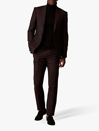 Jaeger Wool Flannel Slim Fit Suit Trousers, Burgundy