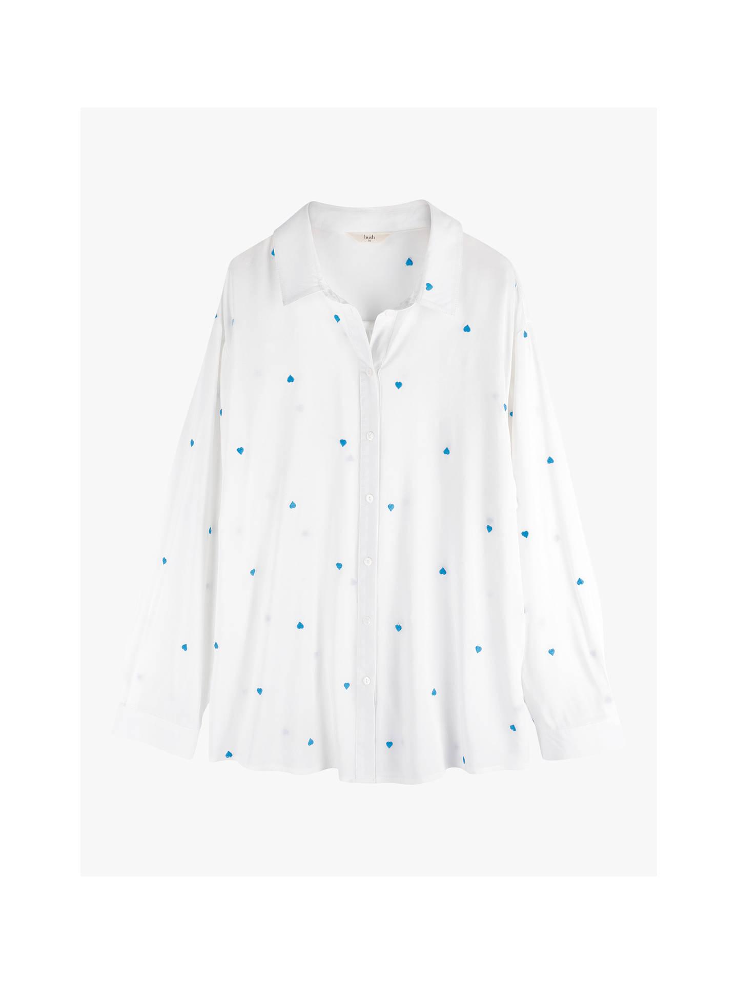 Hush Yael Heart Embroidered Shirt, White/Mykonos Blue by Hush