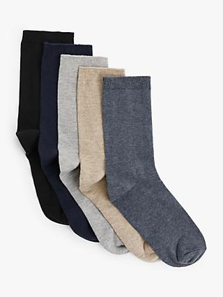 John Lewis & Partners Plain Organic Cotton Rich Ankle Socks, Pack of 5