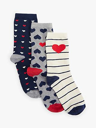 John Lewis & Partners Parisian Heart Print Ankle Socks, Pack of 3, Multi