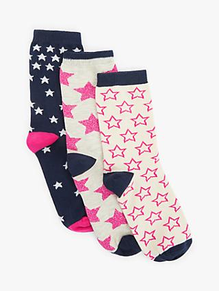 John Lewis & Partners Falling Stars Print Ankle Socks, Pack of 3, Multi