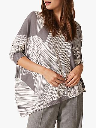 Phase Eight Cora Stripe Asymmetric Jumper, Grey