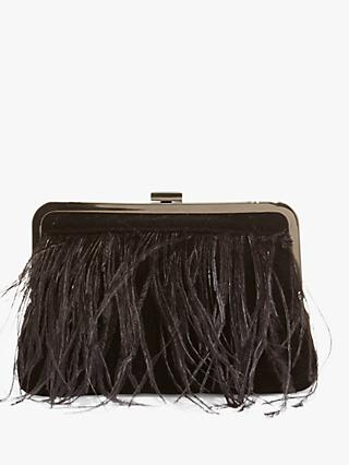 Phase Eight Fion Feather Clutch Bag, Black