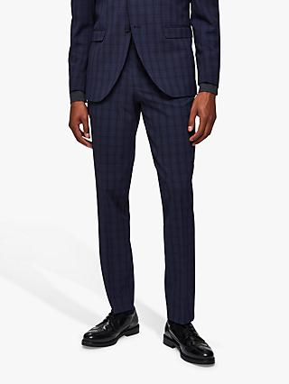 SELECTED HOMME Check Slim Fit Suit Trousers, Navy