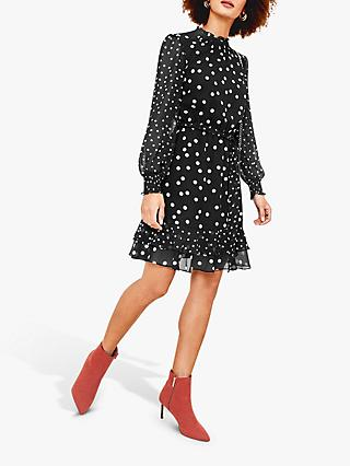 Oasis Patched Spot Print Skater Dress, Black/White