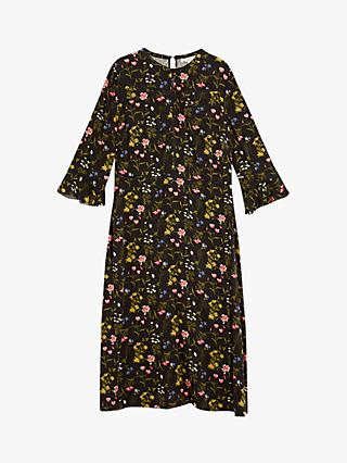 Oasis Curve Floral Midi Dress, Black