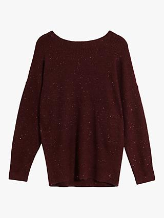 Oasis Becky Sparkle Jumper, Berry