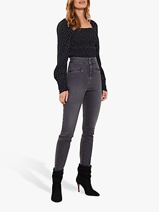 Mint Velvet Ohio Zip Jeggings, Black