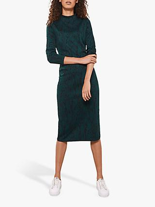 Mint Velvet Snake Print Jersey Midi Dress, Multi
