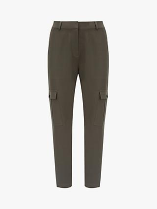 Mint Velvet Tapered Utility Trousers, Dark Green